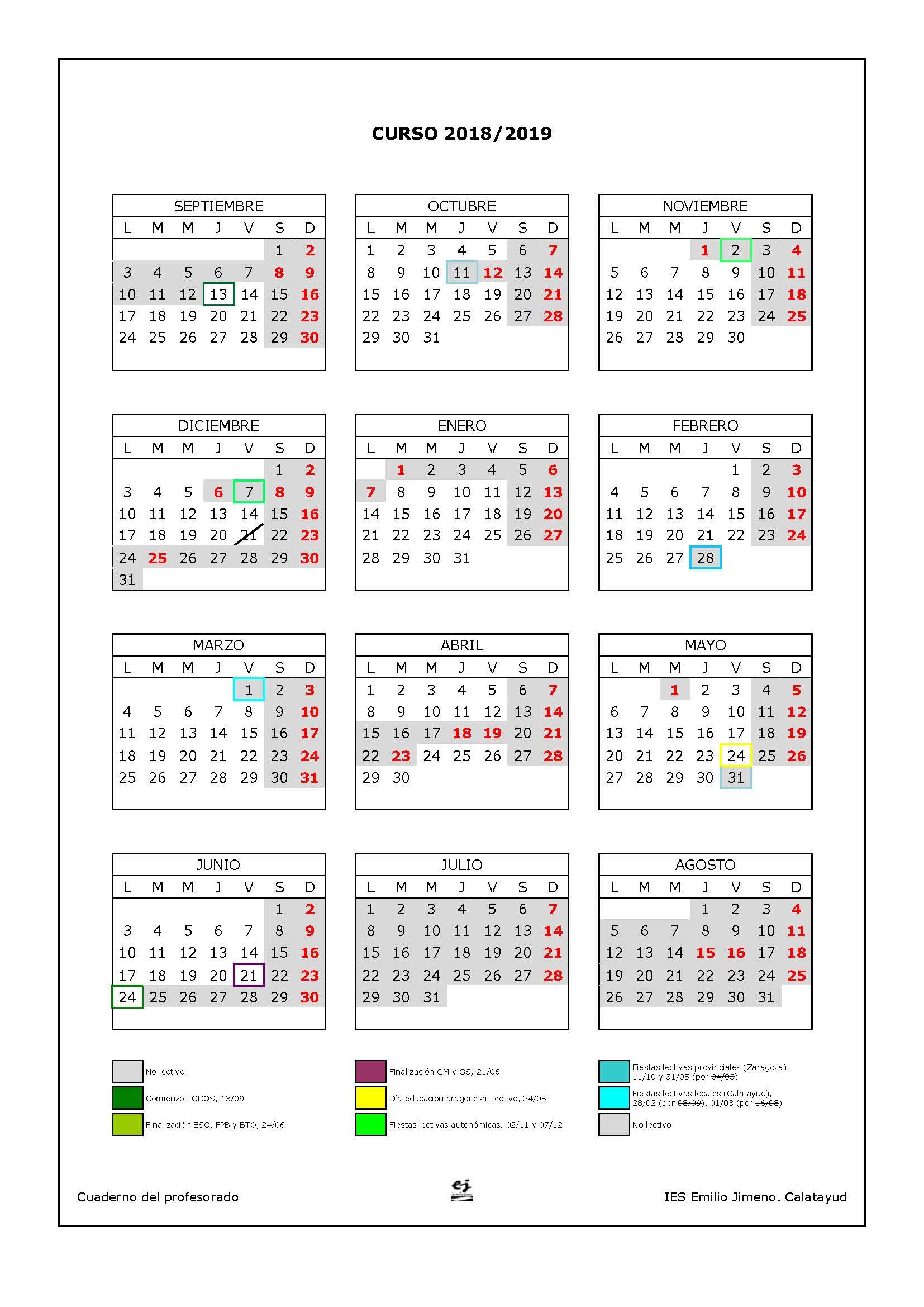 Calendario Escolar 2019 Aragon.Calendario Escolar Ies Emilio Jimeno